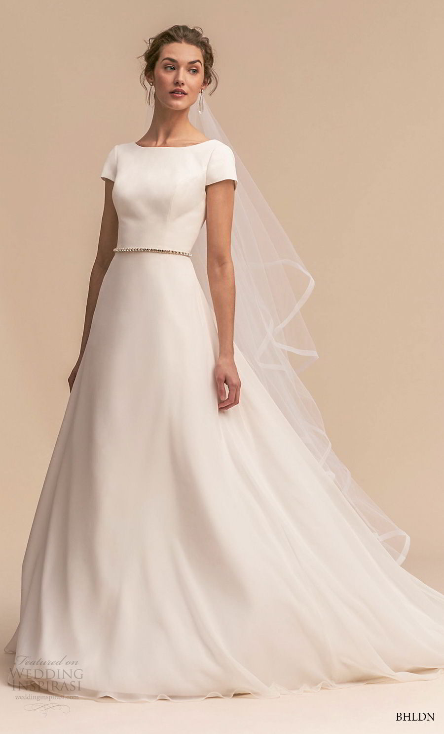 bhldn 2018 whispers bridal short sleeve bateau neck simple clean elegant classic a line wedding dress open back chapel train (10) mv.