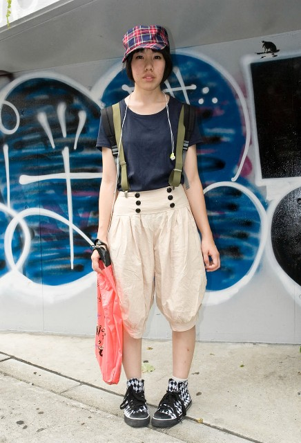 With navy blue shirt, plaid cap, printed shoes and tote