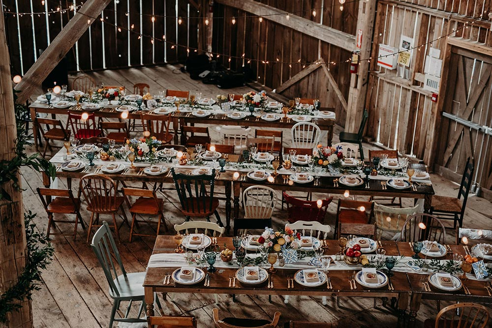 eclectic barn wedding reception tablescapes