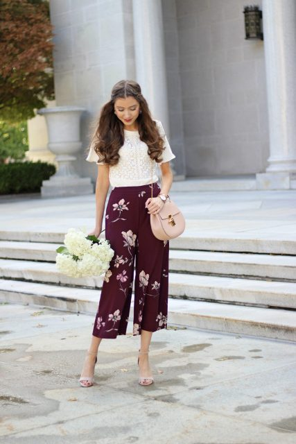 With white shirt, chain strap bag and beige high heels