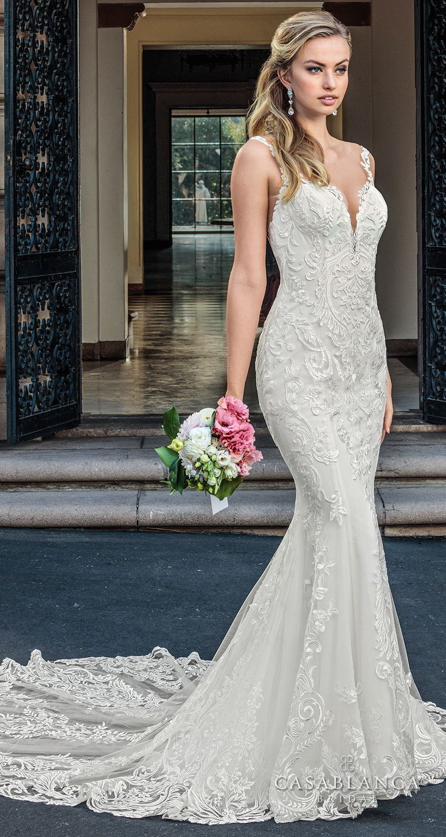 casablanca spring 2018 sleeveless strap plunging sweetheart neckline full embellishment elegant fit and flare wedding dress lace button back chapel train (kinsley) mv