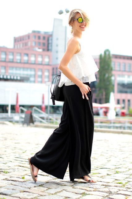 Black-Palazzo-Pants 28 Modern ways to Wear Palazzo Pants with other Outfits