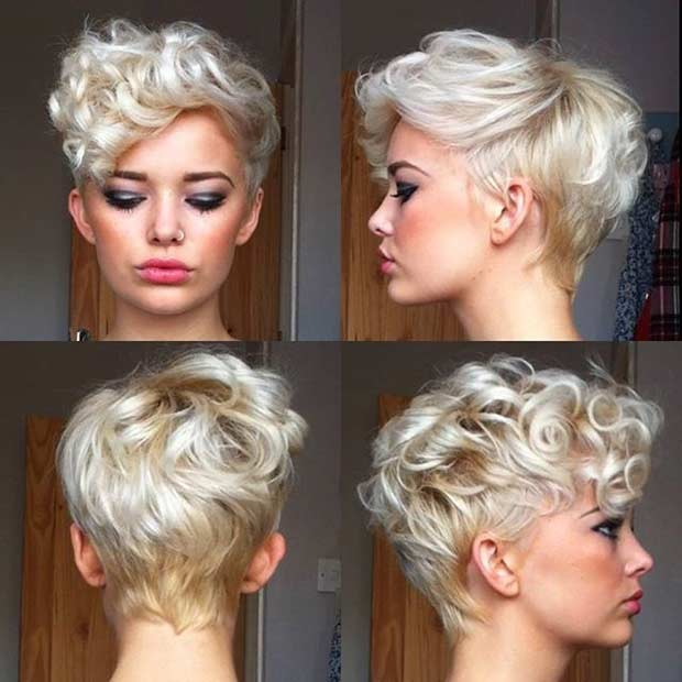 Curly Blonde Pixie Cut