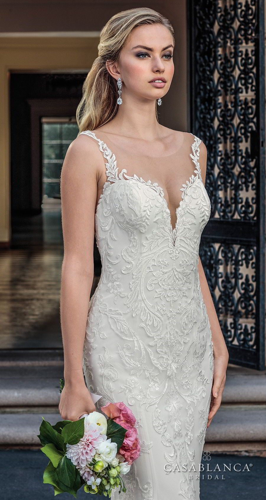 casablanca spring 2018 sleeveless strap plunging sweetheart neckline full embellishment elegant fit and flare wedding dress lace button back chapel train (kinsley) zv