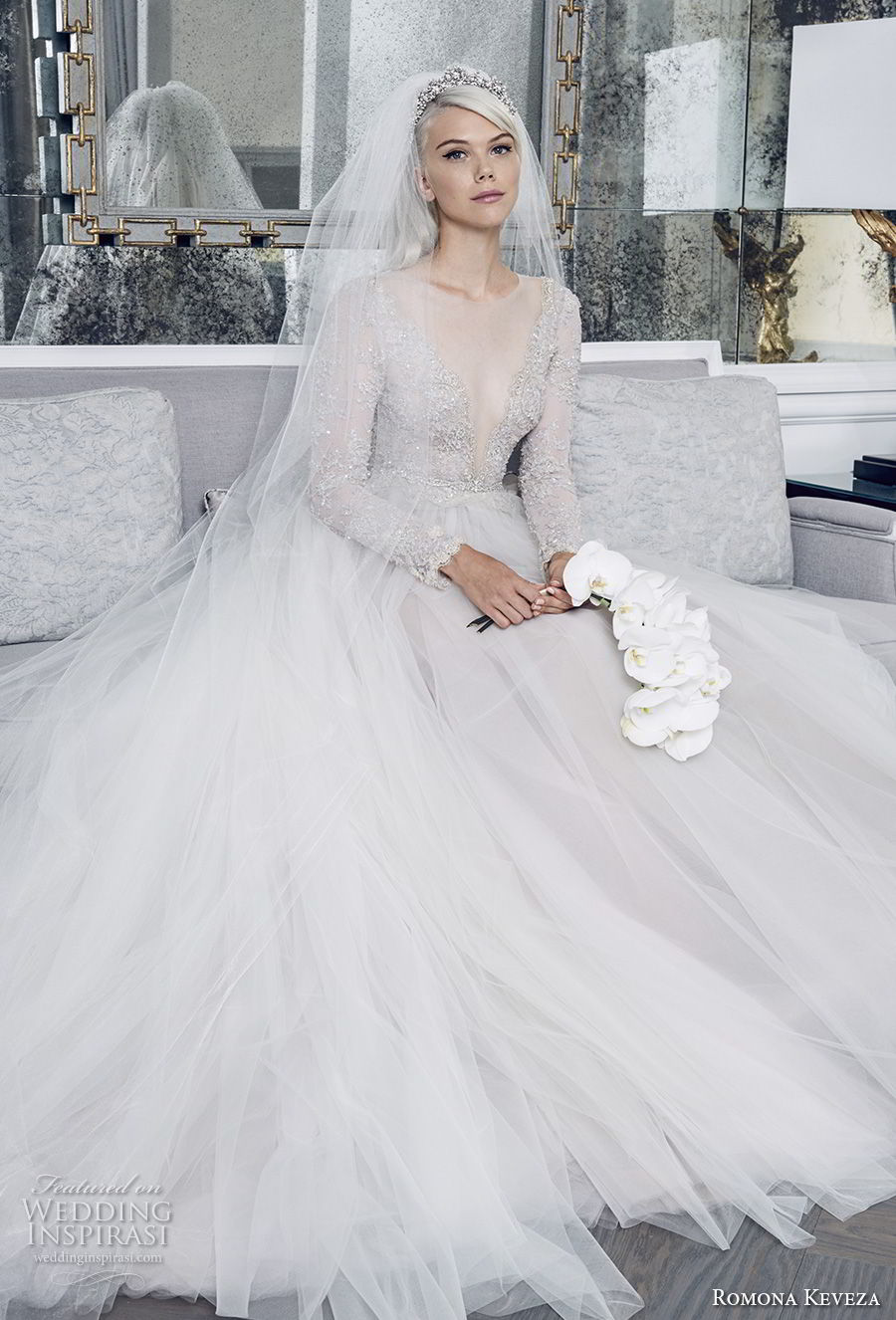 romona keveza fall 2018 bridal long sleeves illusion jewel deep v neck heavily embellished bodice tulle skirt princess romantic a line wedding dress (2) mv