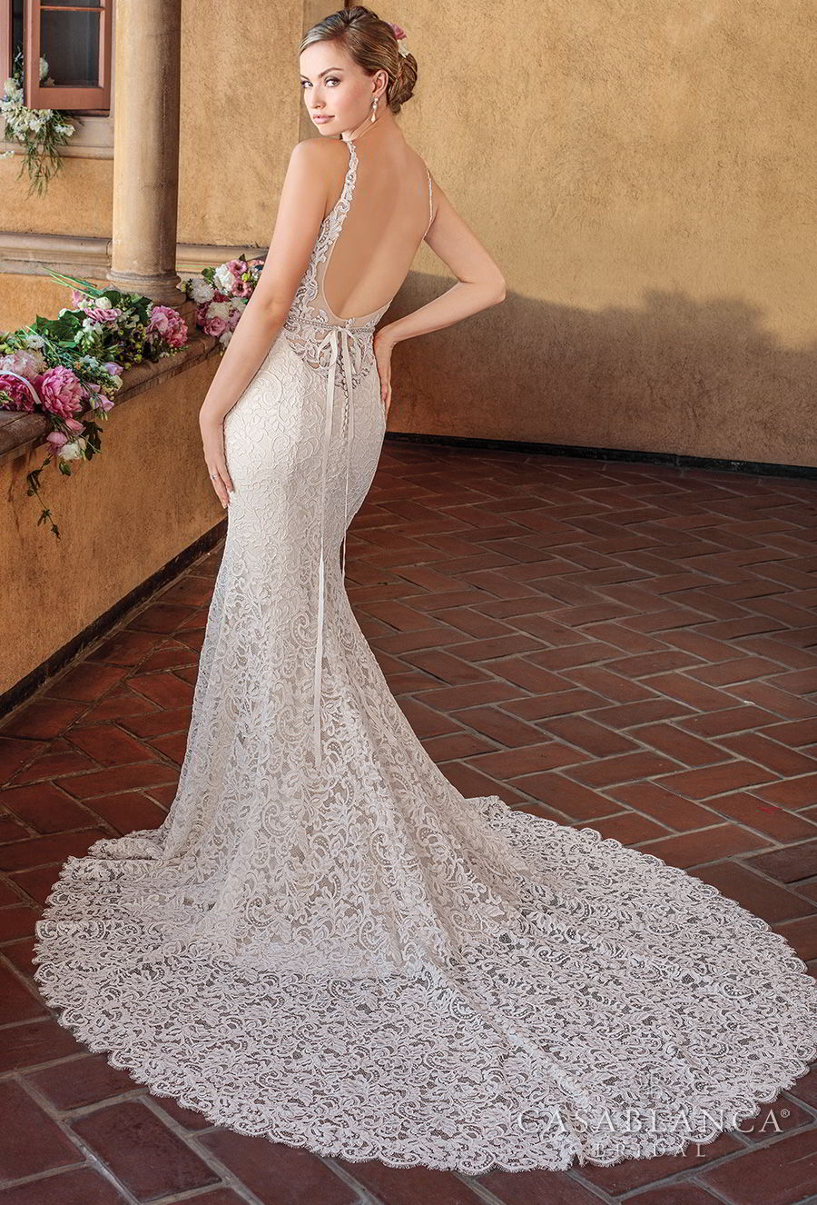 casablanca spring 2018 sleeveless strap sweetheart neckline full embellishment elegant fit and flare wedding dress open scoop back chapel train (nikki) bv