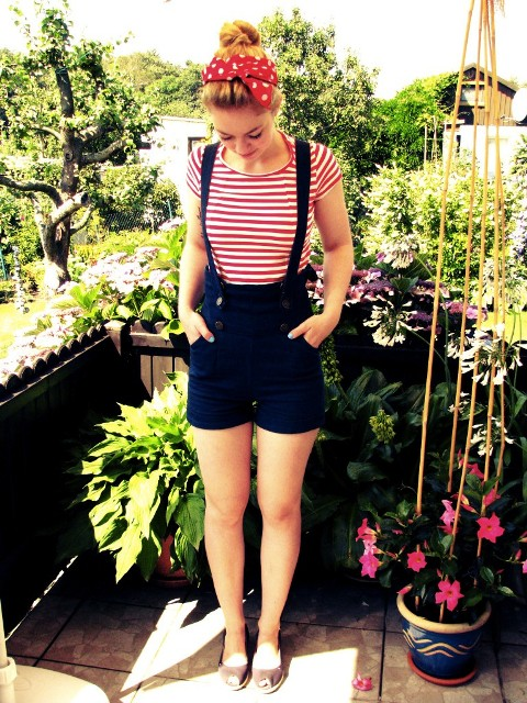 With striped t-shirt and beige flats