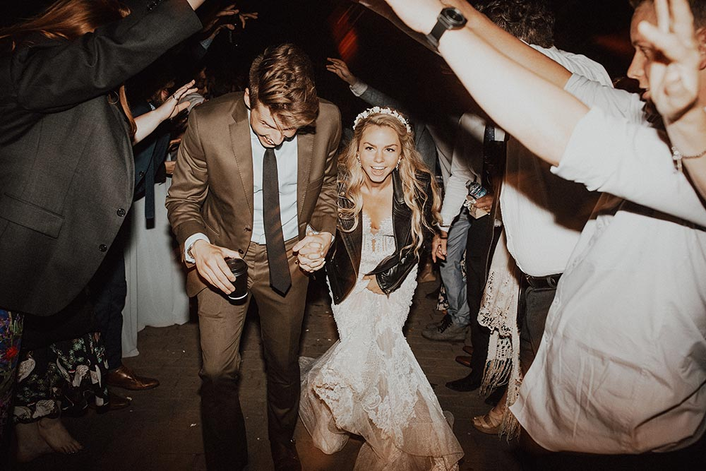 modern boho couple wedding exit