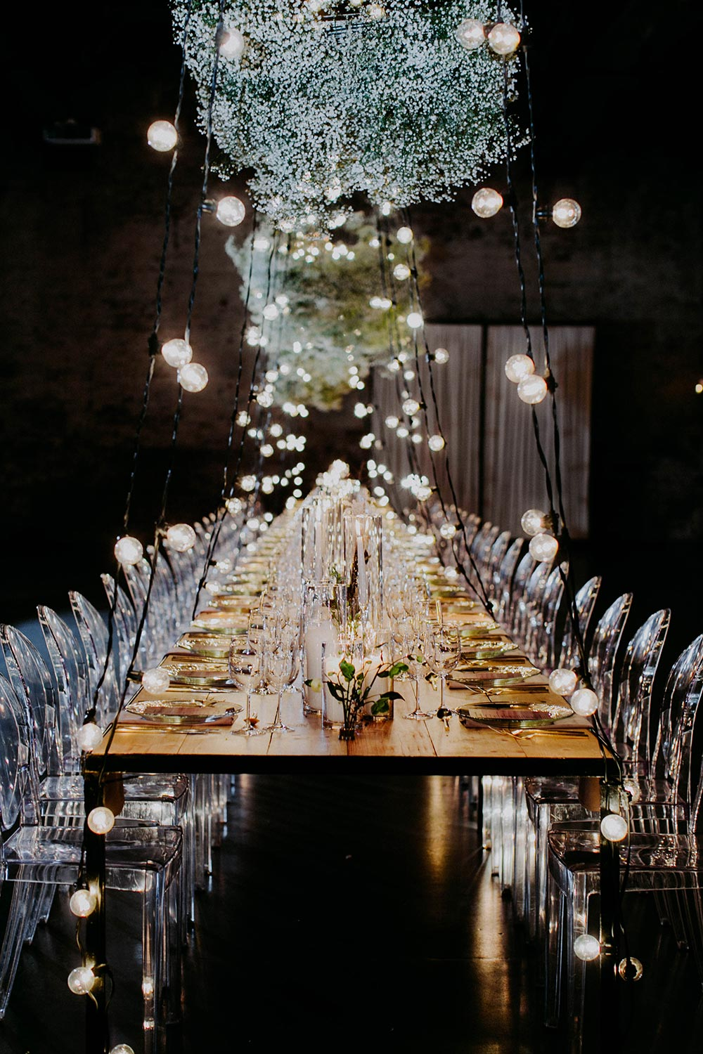 industrial tablescape floral canopy installation