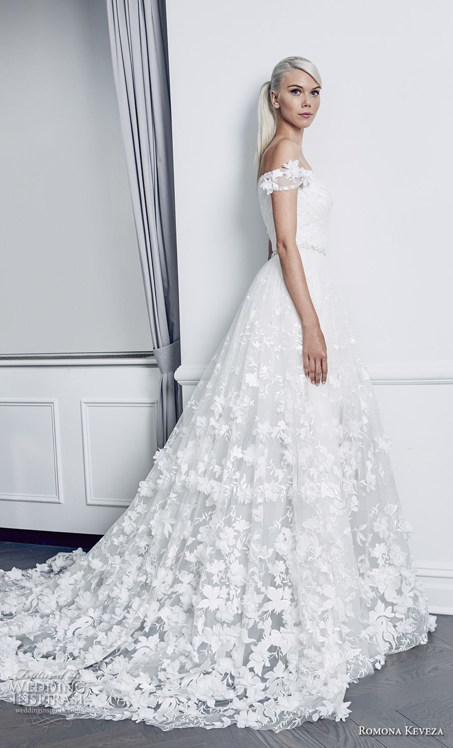 romona keveza fall 2018 bridal off the shoulder full embellishment romantic a line wedding dress chapel train (3) mv