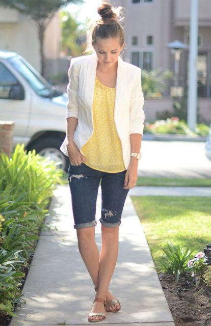 With yellow blouse, white blazer and flat sandals