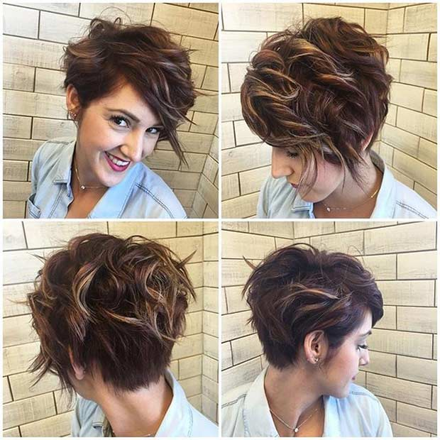 Longer Messy Pixie Cut with Highlights