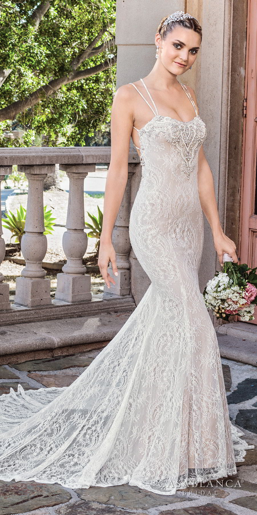 casablanca spring 2018 thin double strap sweetheart neckline full embellishment elegant fit and flare wedding dress low open back chapel train (adri) mv
