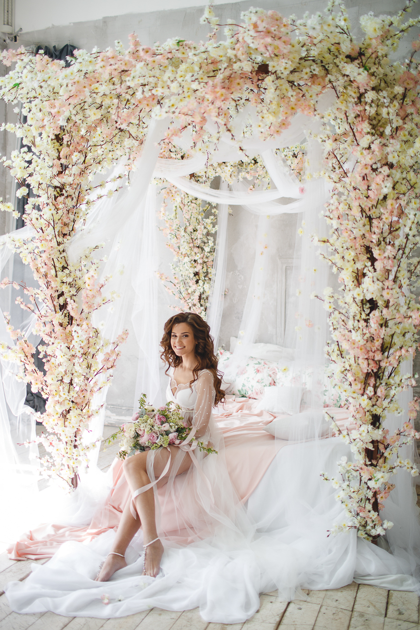 blush and cream wedding flower installation romantic and airy