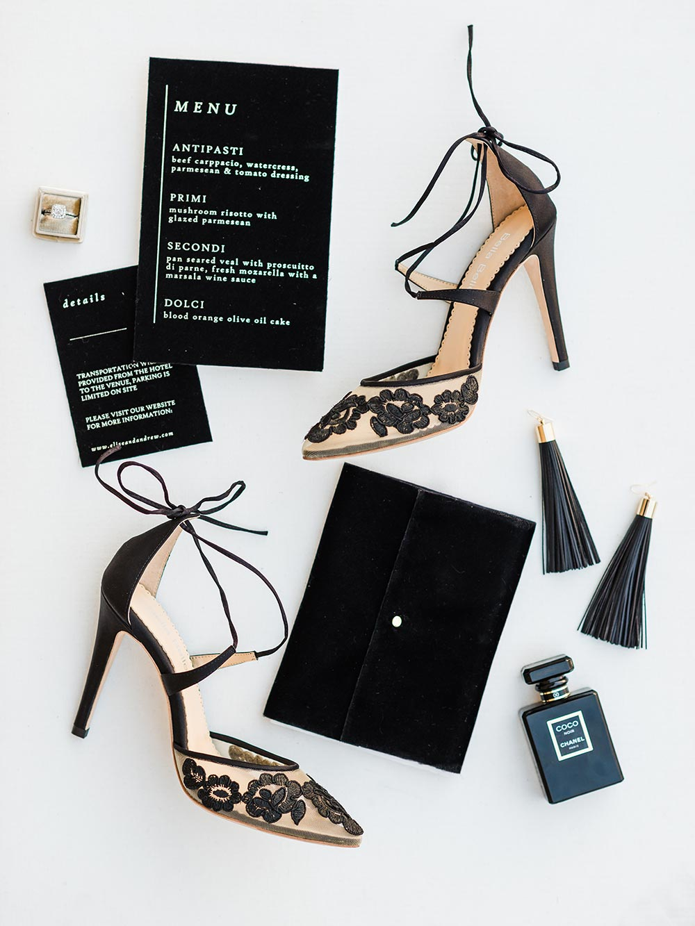 modern black wedding details