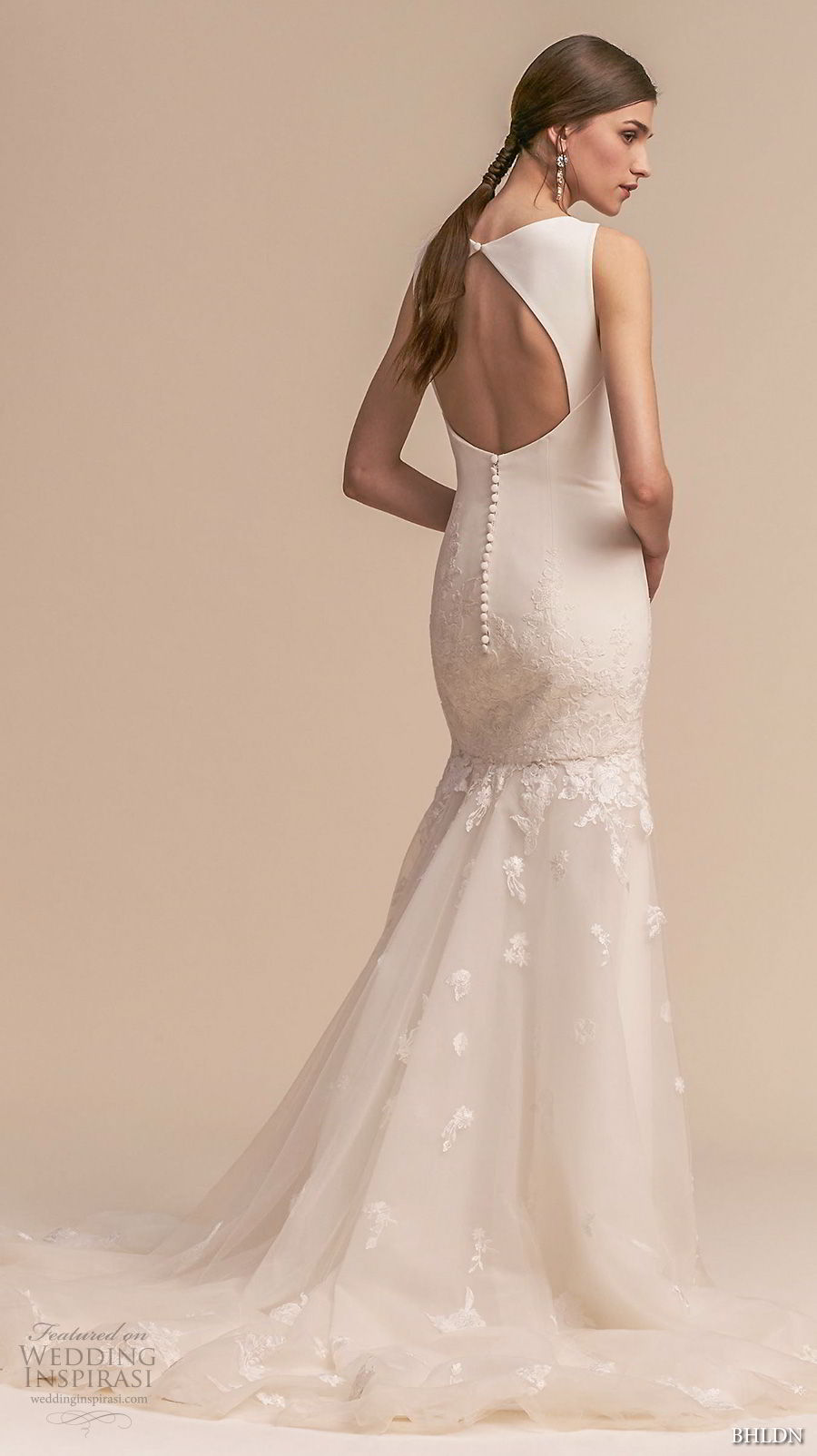 bhldn 2018 whispers bridal sleeveless bateau neck simple clean embellished skirt trumpet wedding dress keyhole back short train (4) bv