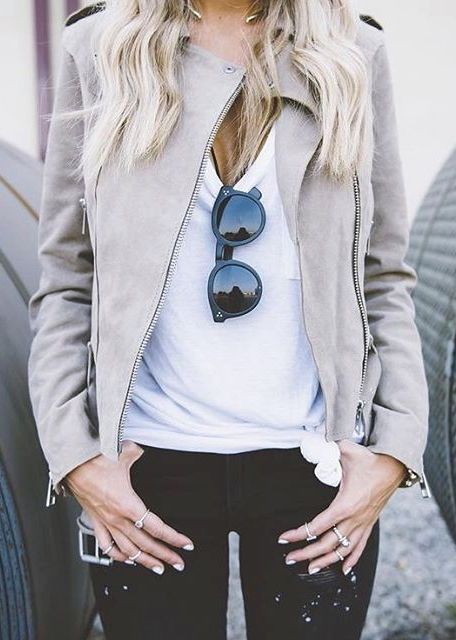 black ripped jeans, a white tee and a dove grey suede moto jacket for a hot look