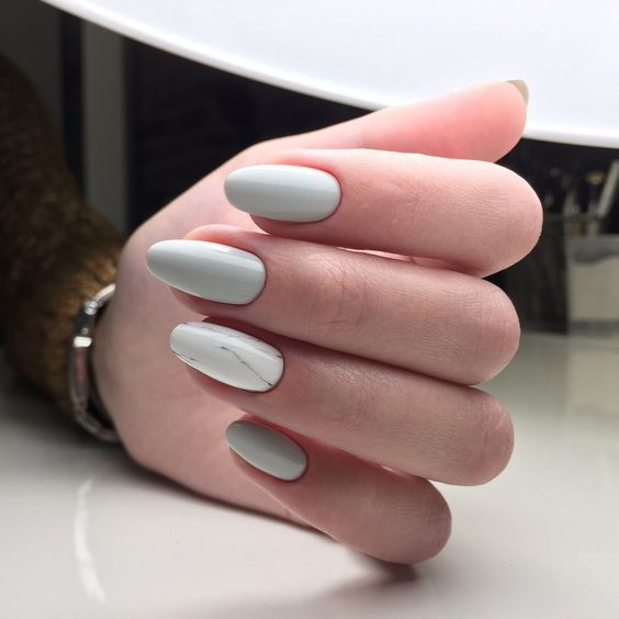 dove grey nails plus an accent marble one for a fresh spring look