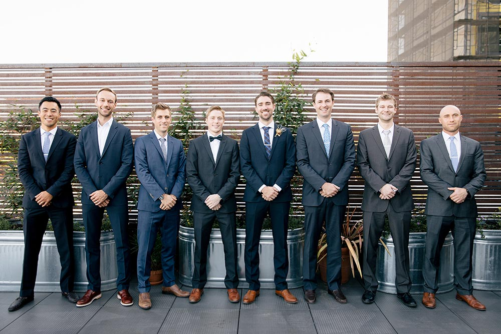 bue groomsmen suits