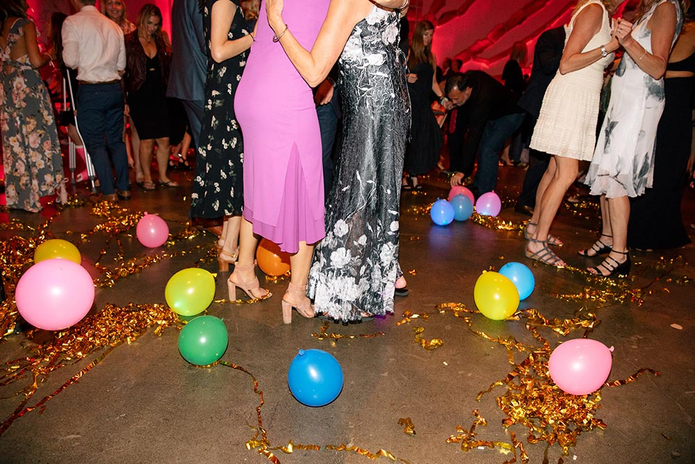 colorful dance floor balloons wedding reception