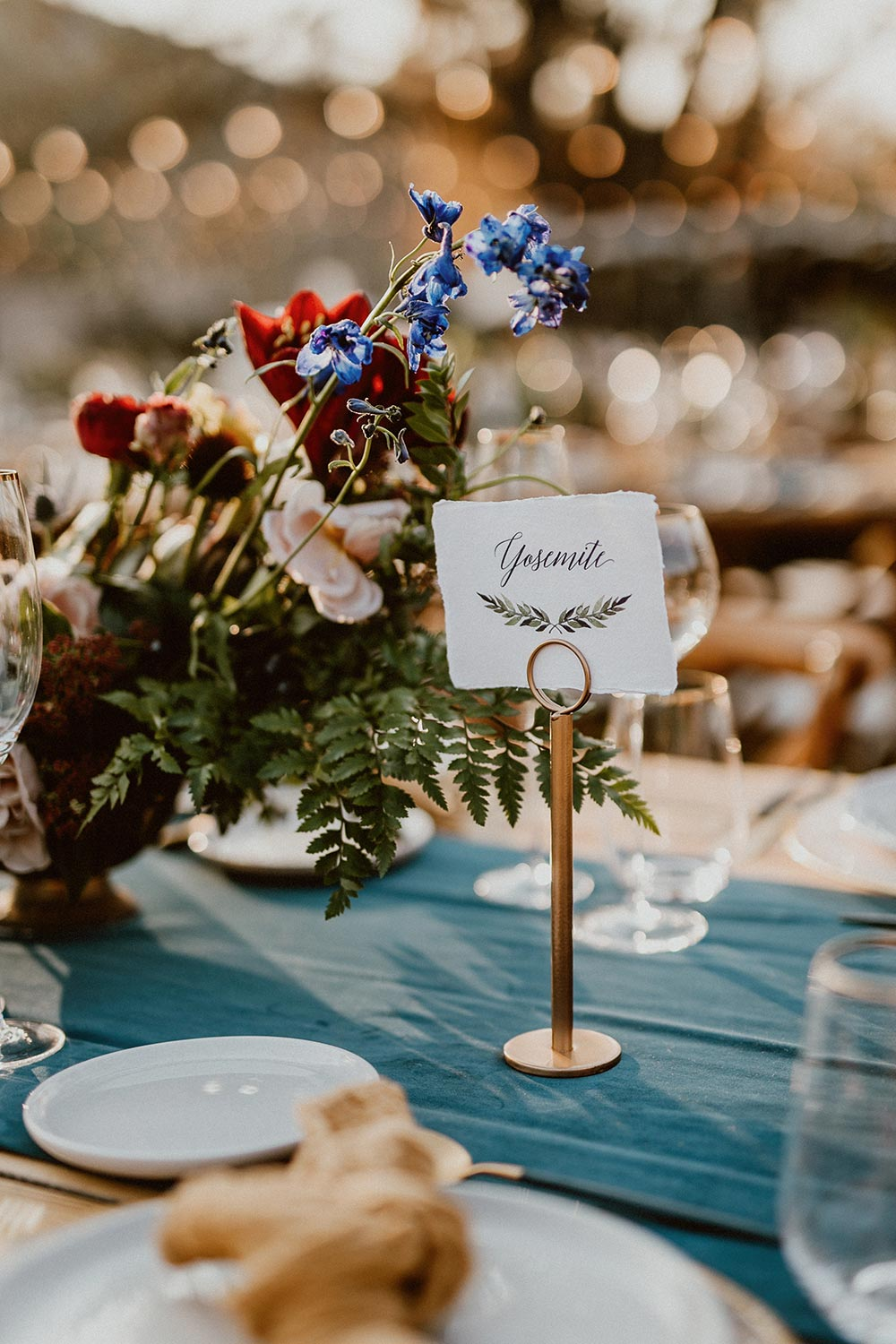 navy and mustard wedding table names