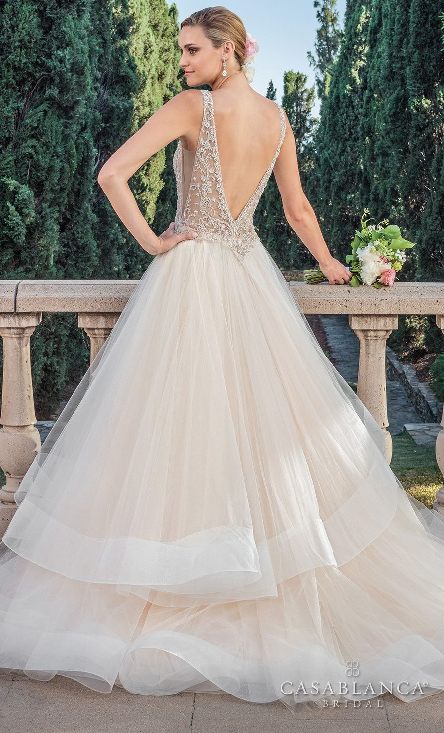 casablanca spring 2018 sleeveless v neck heavily embellished bodice side open layerd skirt romantic a line wedding dress open v back medium train (tori) bv