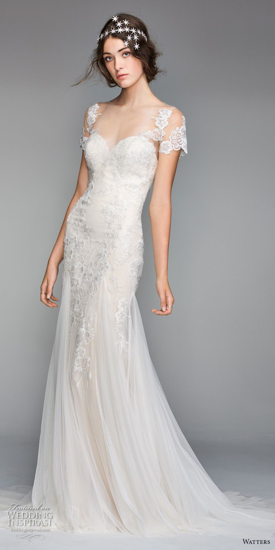 willow by watters spring 2018 short sleeves sheer bateau sweetheart neckline heavily embellished bodice romantic elegant fit and flare wedding dress sheer button back chapel train (10) mv