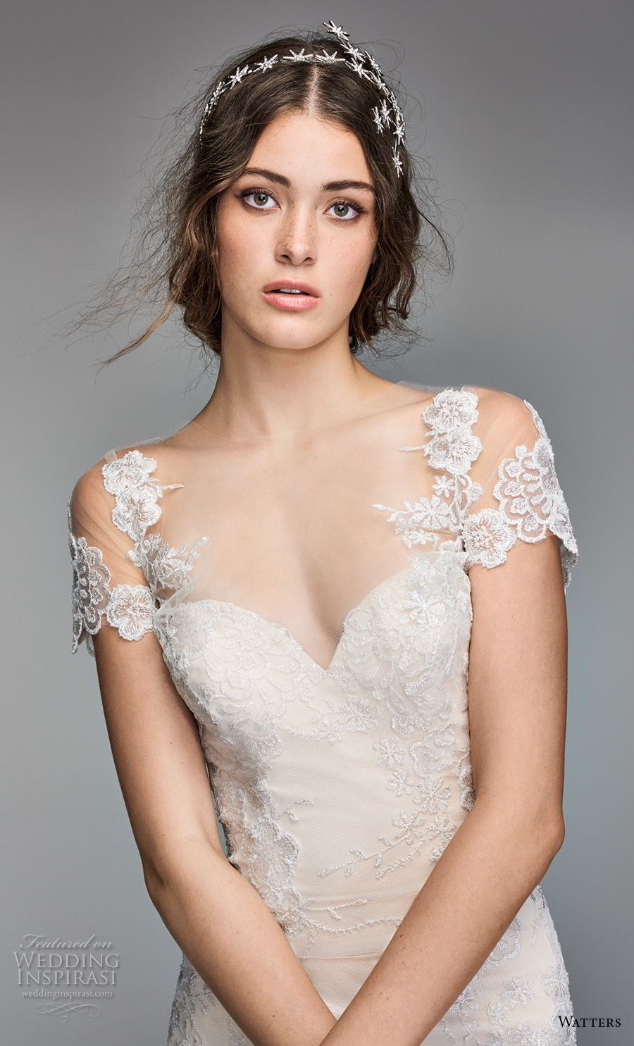 willow by watters spring 2018 short sleeves sheer bateau sweetheart neckline heavily embellished bodice romantic elegant fit and flare wedding dress sheer button back chapel train (10) zv