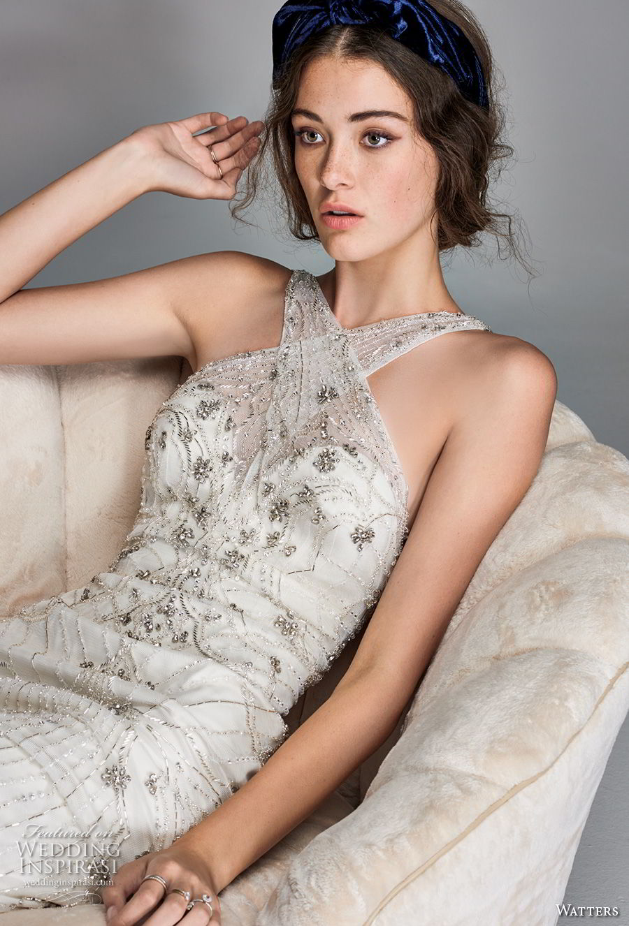 willow by watters spring 2018 sleeveless criss cross halter neckline heavily embellished bodice art deco elegant fit and flare wedding dress open back short train (9) zv
