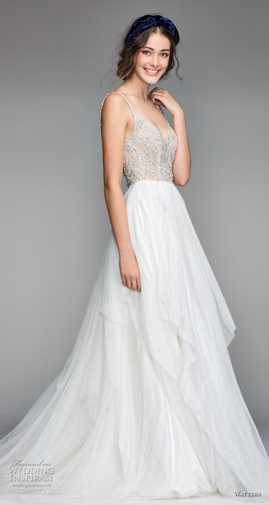 willow by watters spring 2018 thin straps sweetheart neckline heavily embellished bodice glamorous romantic a line wedding dress v back sweep train (8) mv