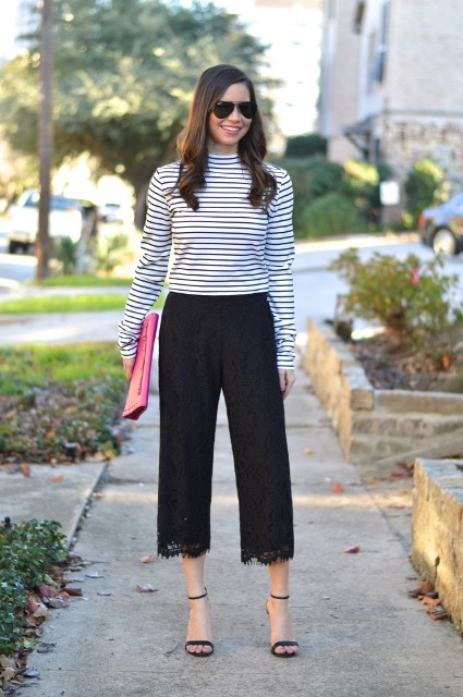 With striped shirt, heels and clutch