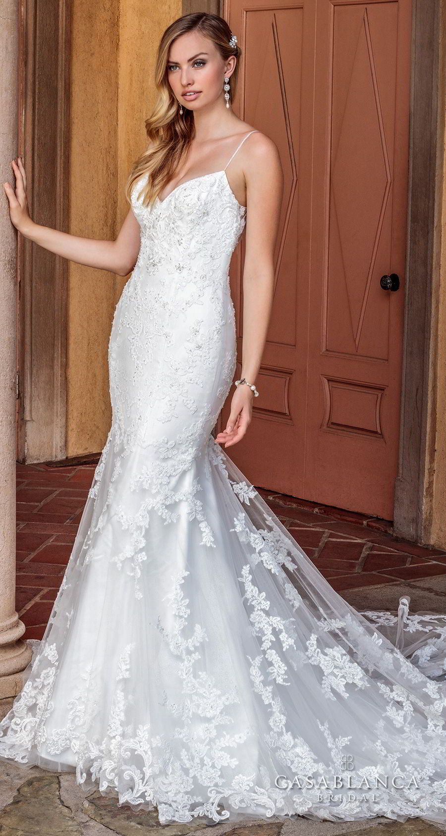 casablanca spring 2018 spaghetti strap sweetheart neckline full embellishment elegant fit and flare wedding dress low open back chapel train (marley) mv