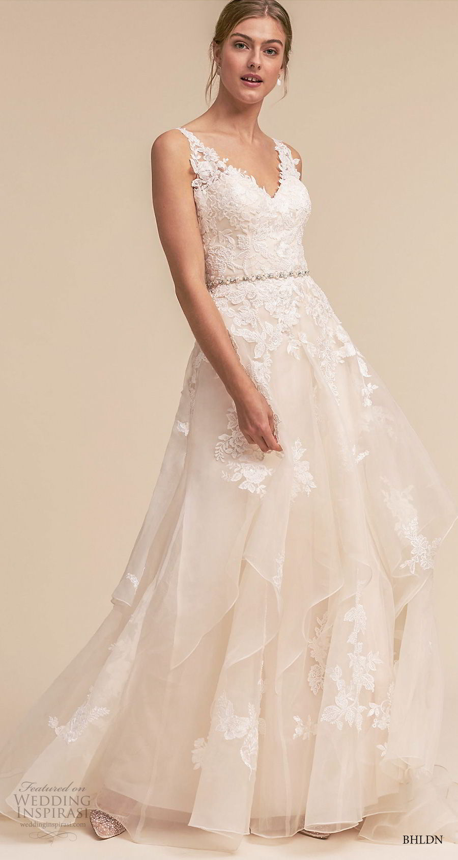 bhldn 2018 whispers bridal sleeveless v neck heavily embellished bodice romantic a line wedding dress open v back sweep train (6) mv