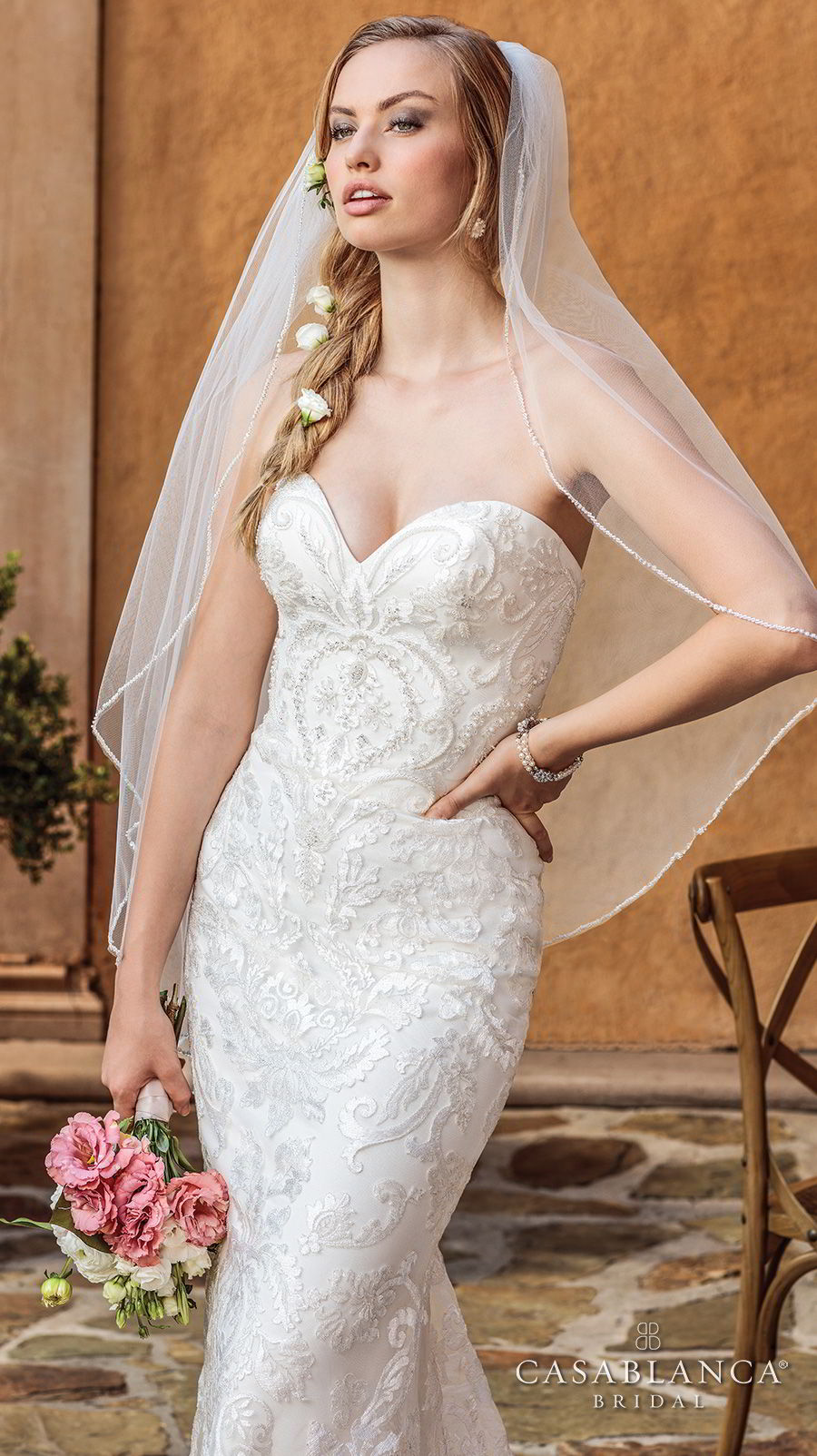 casablanca spring 2018 strapless sweetheart neckline full embellishment romantic fit and flare wedding dress medium train (darby) zv