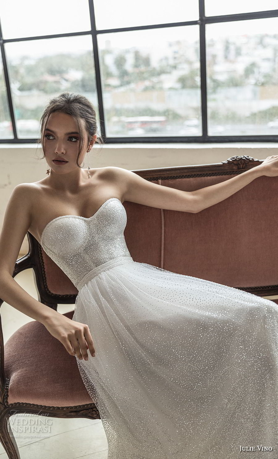 julie vino 2019 romanzo bridal strapless sweetheart neckline full embellishment bustier romantic a line wedding dress short train (2) zv