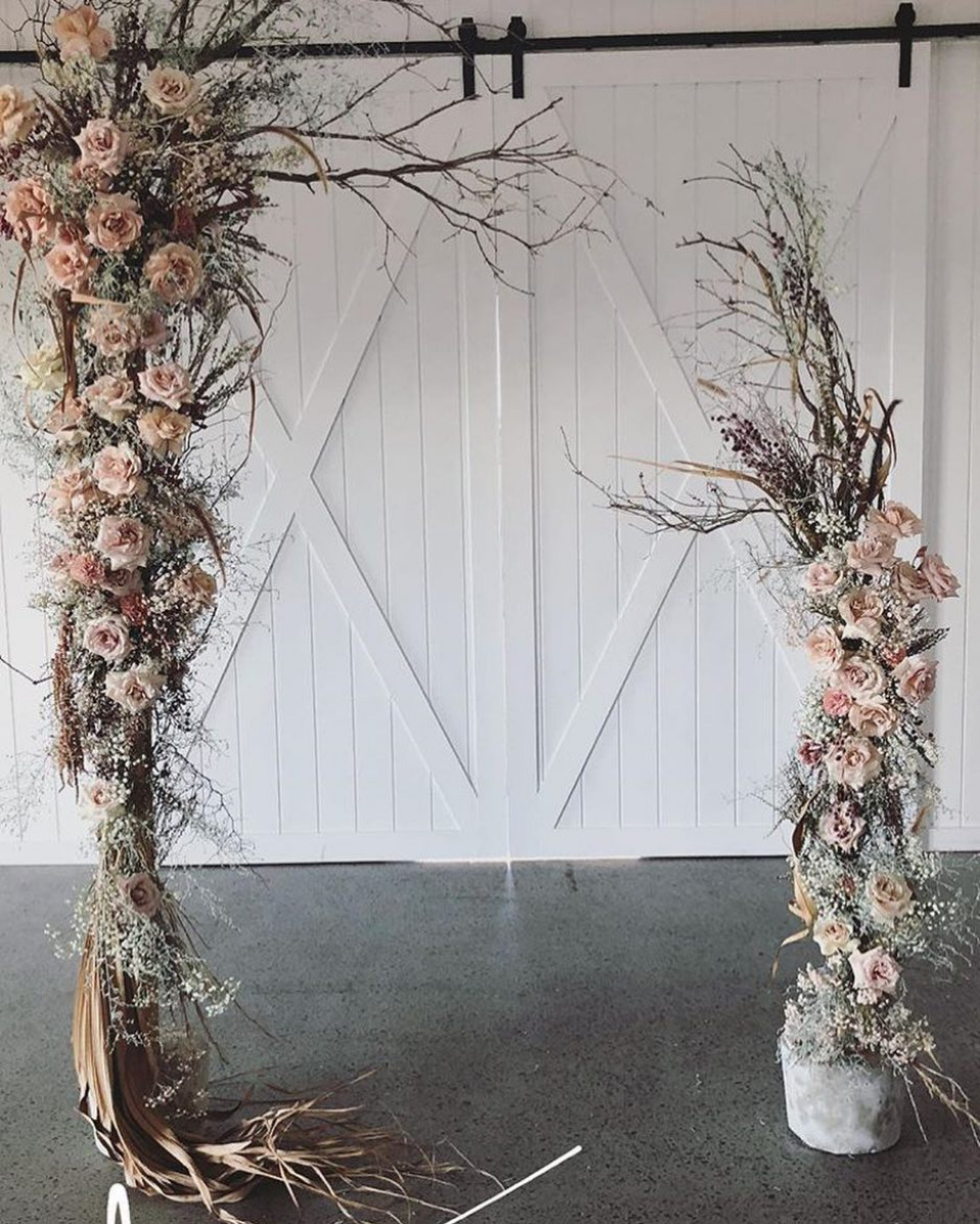 rustic chic branch ceremony arch
