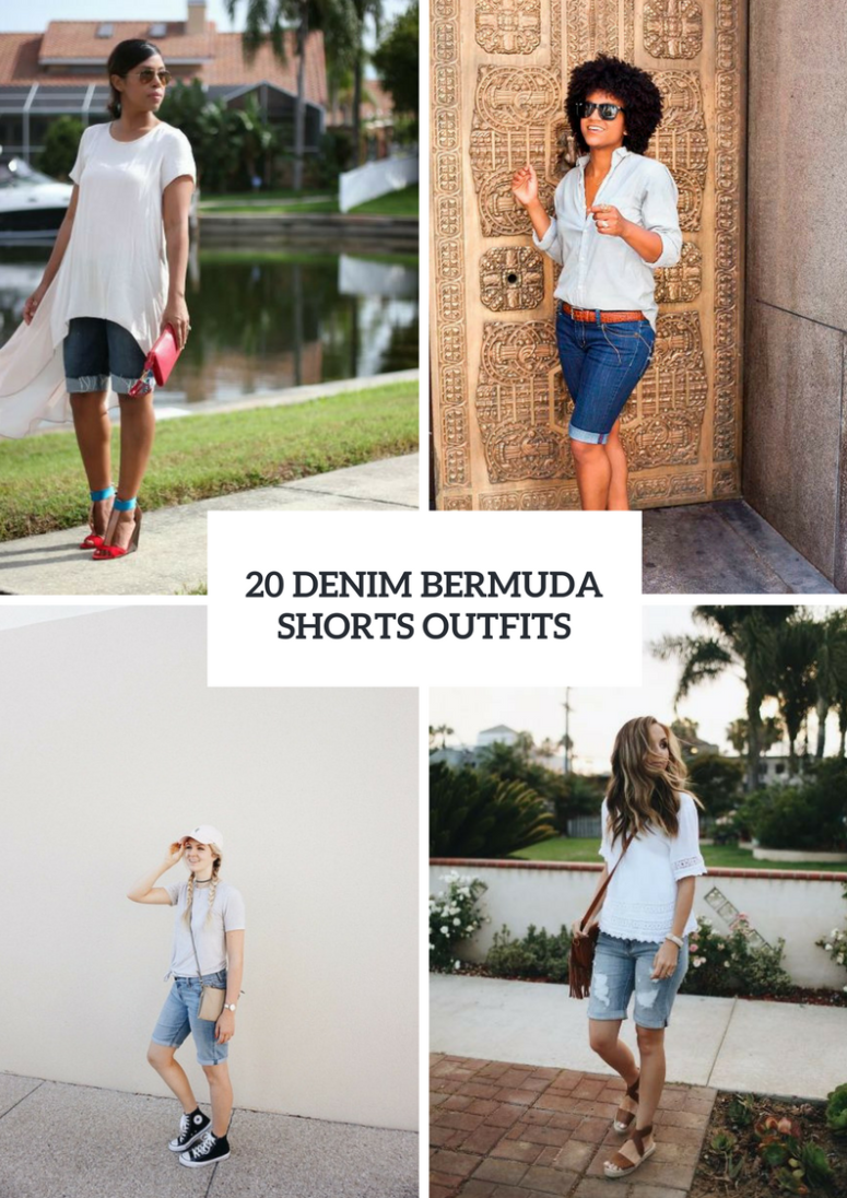 20 Outfits With Denim Bermuda Shorts