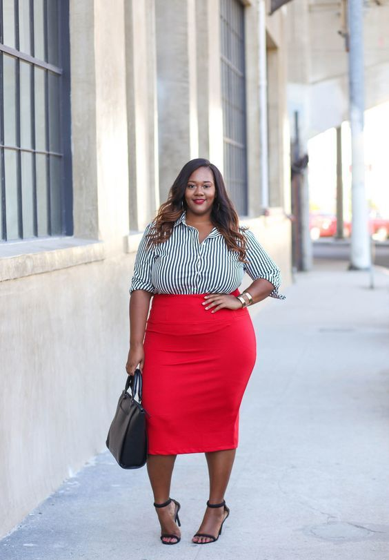 a red pencil midi, a black and white striped shirt and a black heels to go to work