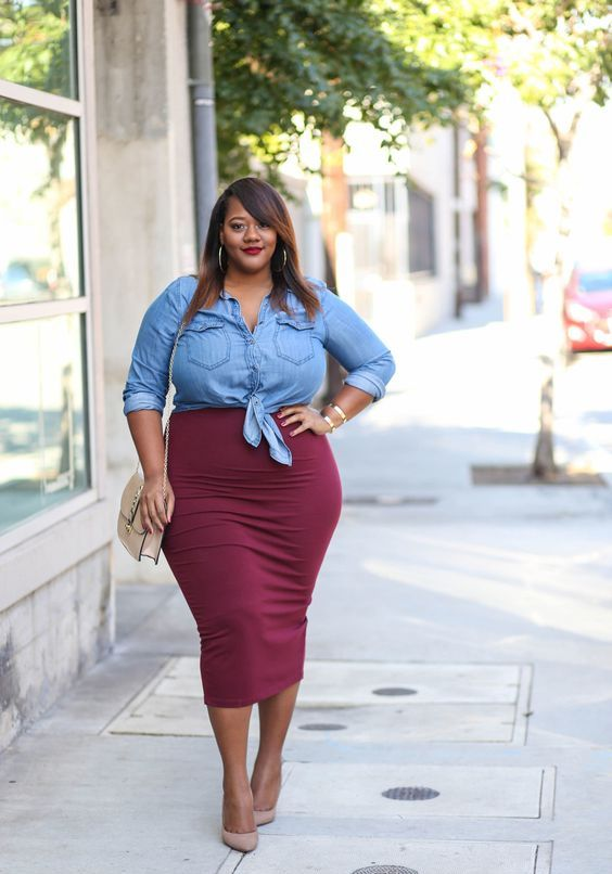 a burgundy midi pencil skirt, a chambray shirt, tan shoes and a tan bag for a casual look