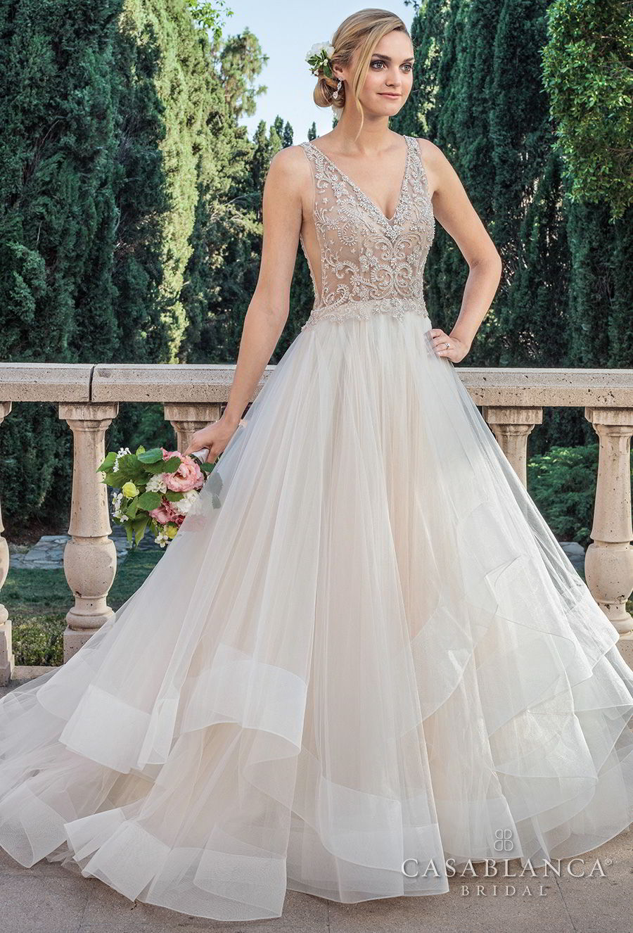 casablanca spring 2018 sleeveless v neck heavily embellished bodice side open layerd skirt romantic a line wedding dress open v back medium train (tori) mv