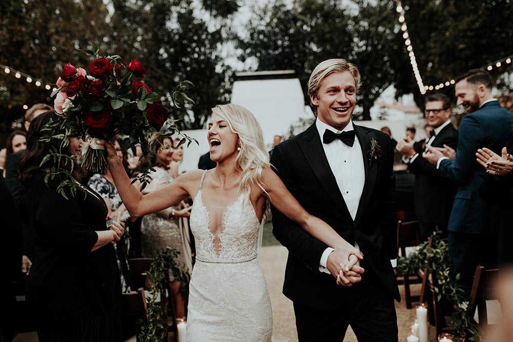 Moody black tie wedding with deconstructed florals wedding san clemente black tie wedding ceremony junglespirit Image collections