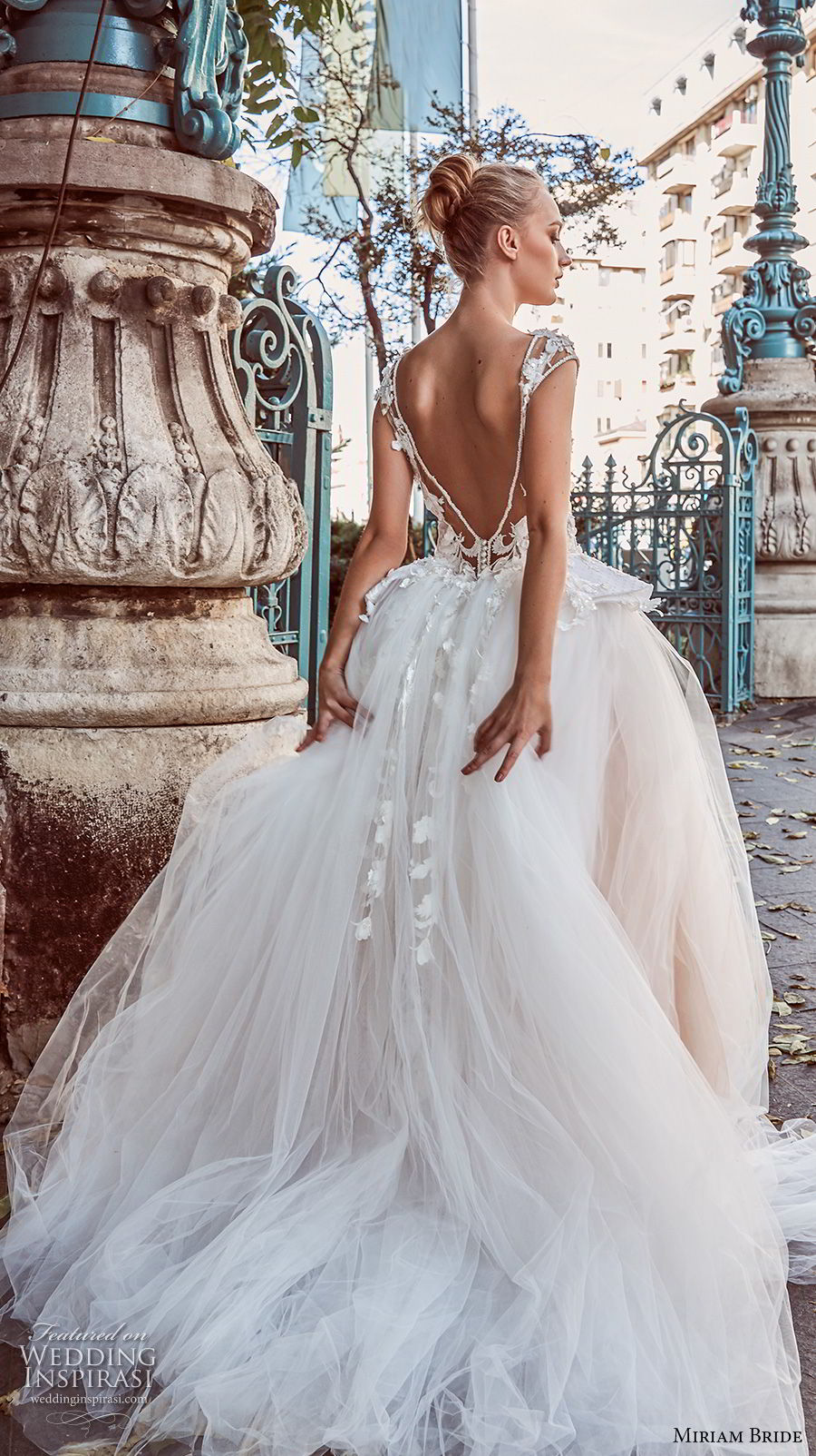 miriams bride 2018 bridal cap sleeves illusion bateau sweetheart neckline tulle skirt romantic ball gown a line wedding dress v back chapel train (1) bv