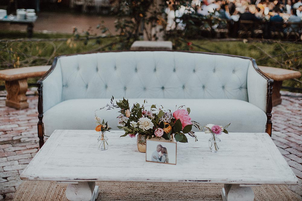 whimsical garden wedding reception lounge