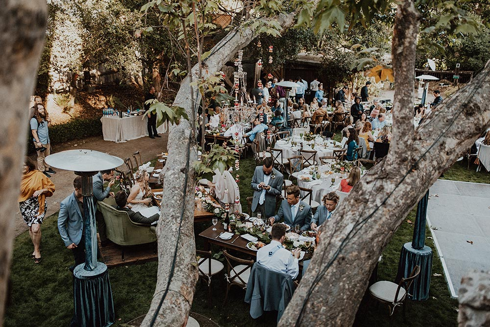 whimsical garden wedding reception