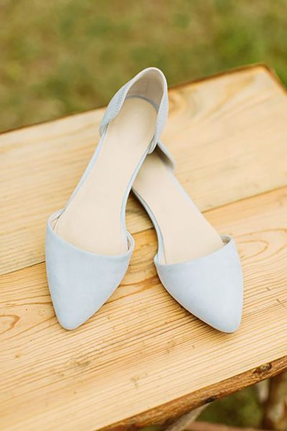 pointed powder blue flats for a something blue touch at the wedding