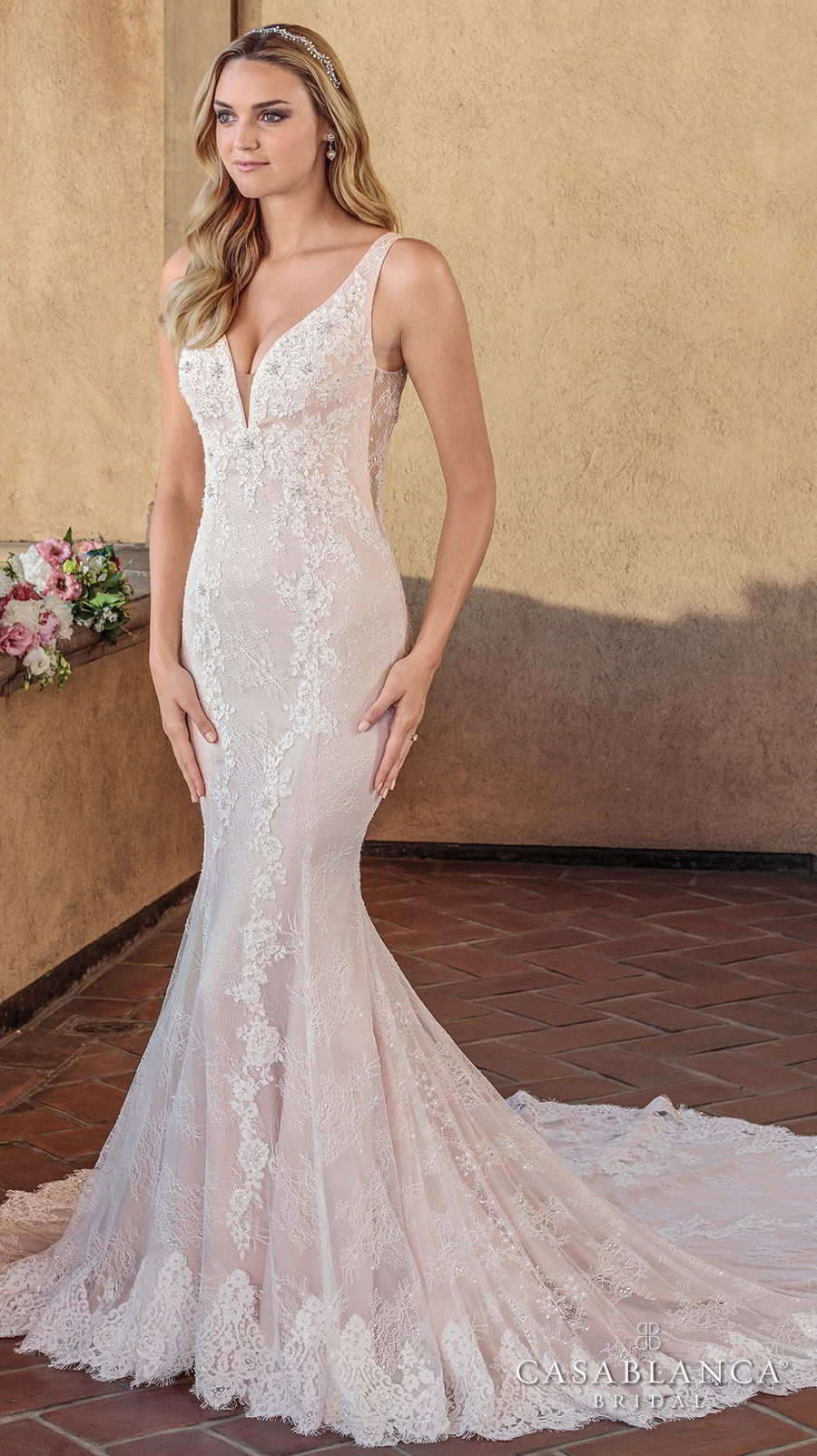 casablanca spring 2018 sleeveless deep v neck full embellishment elegant fit and flare wedding dress sheer lace back chapel train (chloe) mv