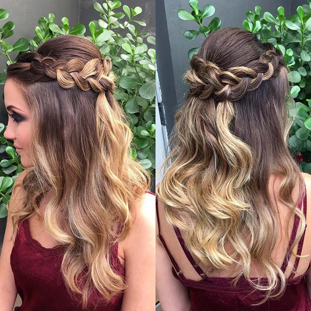 Half Up Hairstyle with a Loose Braid
