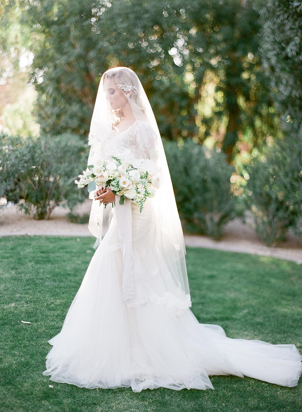 soft veil and old hollywood wedding dress