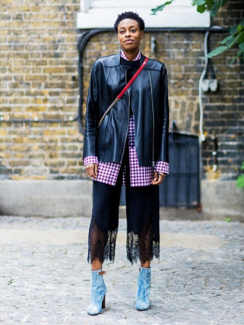 With checked shirt, black leather jacket, red bag and ankle boots