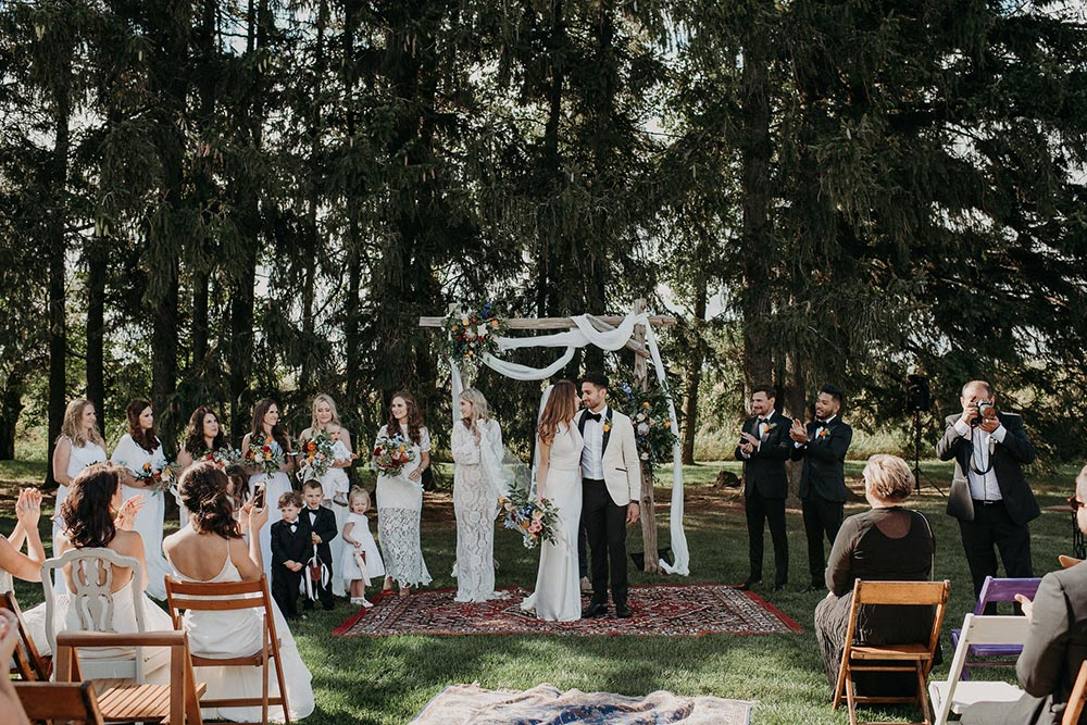 boheme luxe wedding ceremony